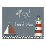 """Ahoy Sail Boat & Lighthouse Thank You Note Cards 4.25"""" X 5.5"""" Invitation Card"""