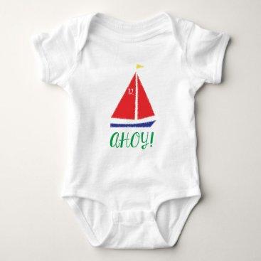 Beach Themed Ahoy! Sailboat design Baby Bodysuit