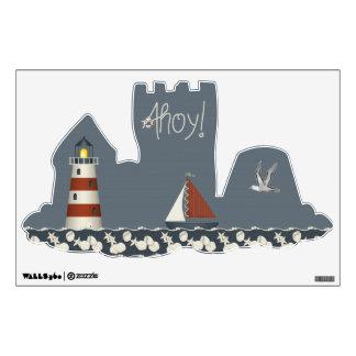 Ahoy Sailboat & Lighthouse Sandcastle Wall Decal