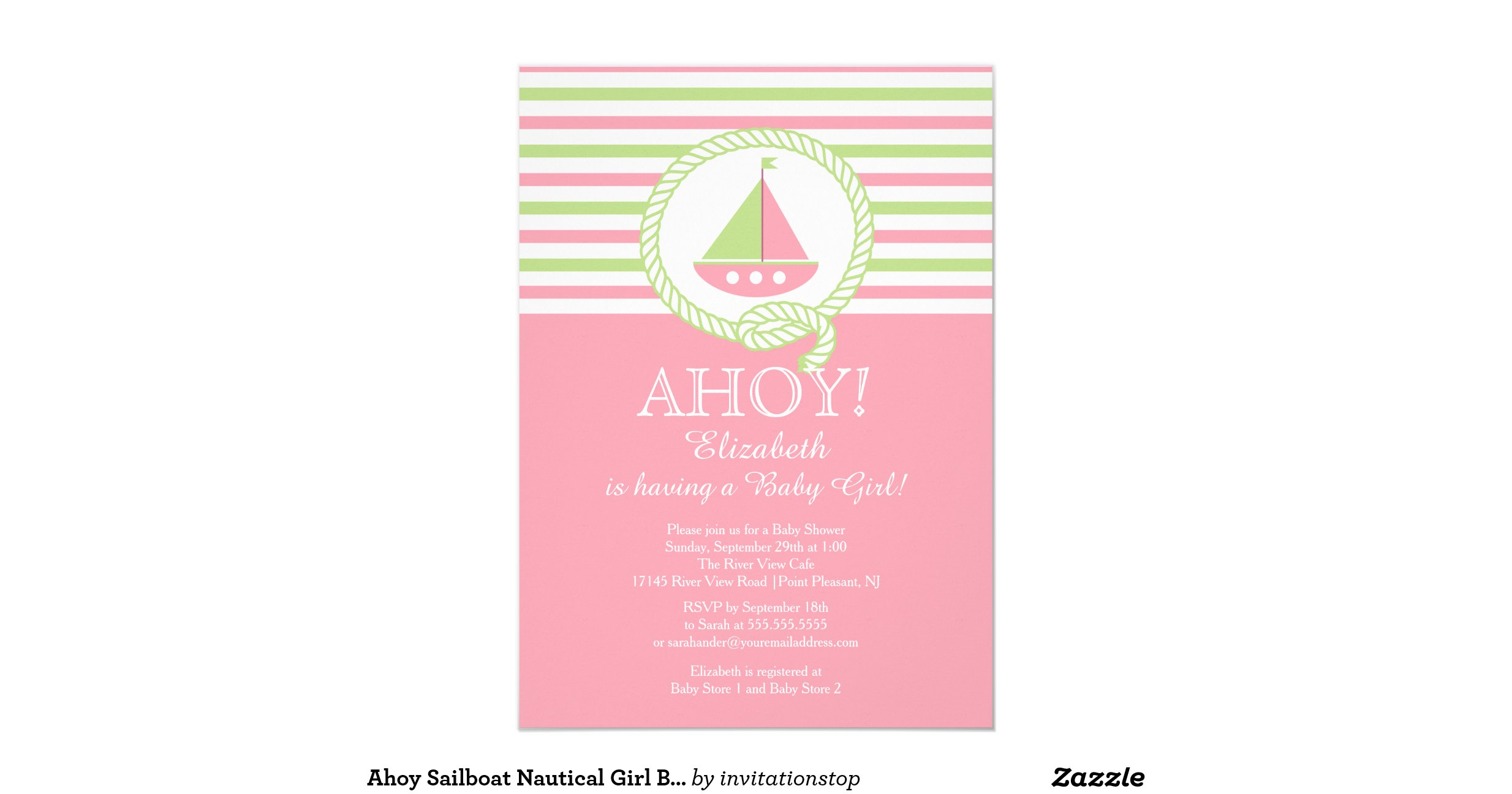 ahoy sailboat nautical girl baby shower invitation