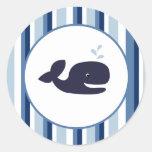 Ahoy sellos del sobre de la ballena azul del pegatinas redondas