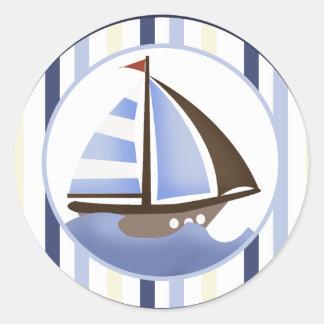 AHOY sellos/pegatinas del sobre del velero del Pegatina Redonda