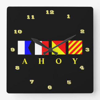 AHOY Signal Flags Square Wall Clock