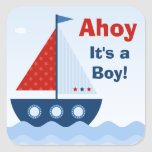 Ahoy su un pegatina de la fiesta de bienvenida al
