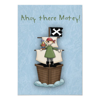 "Ahoy There Matey Invite 5"" X 7"" Invitation Card"
