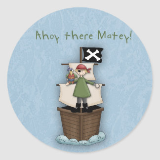 Ahoy There Matey!      Pirate Party Classic Round Sticker