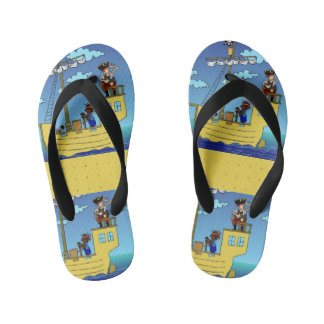 Ahoy There's Land over Yonder Kid's Flip Flops