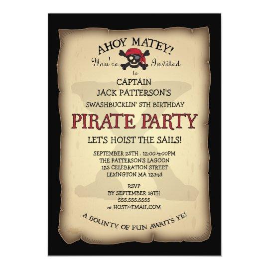 Ahoy treasure map pirate birthday party invitation zazzle ahoy treasure map pirate birthday party invitation filmwisefo