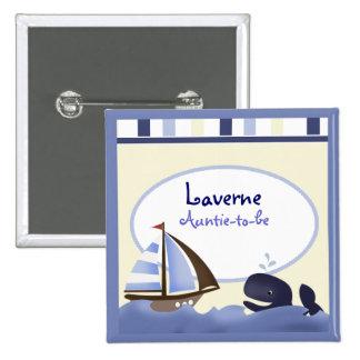 AHOY velero de la ballena azul del COMPAÑERO perso Pin Cuadrada 5 Cm