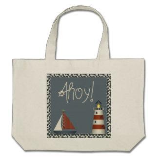 Ahoy velero, faro y Seashells náuticos Bolsas