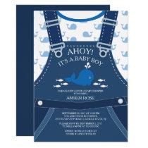 Ahoy Whale Nautical Baby Shower Invitation