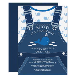 Ahoy Whale Nautical Baby Shower Invitation