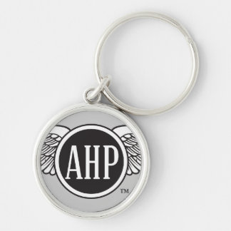 AHP Wings - B&W Silver-Colored Round Keychain