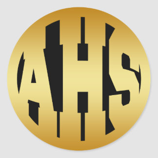 AHS - GOLD HIGH SCHOOL INITIALS CLASSIC ROUND STICKER
