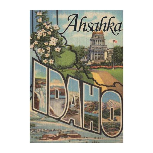 Ahsahka, Idaho - escenas grandes de la letra Impresión En Lienzo Estirada