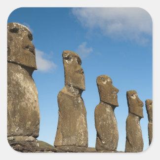 Ahu Akivi, Rapa Nui, isla de pascua, Chile 2 Pegatinas Cuadradases Personalizadas