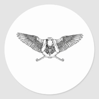 Ahura winged disk skull classic round sticker