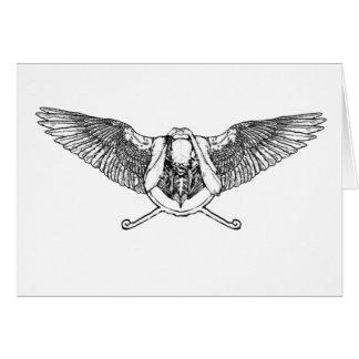 Ahura winged disk skull greeting card