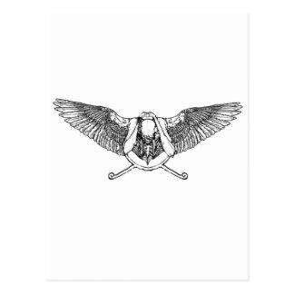 Ahura winged disk skull postcard