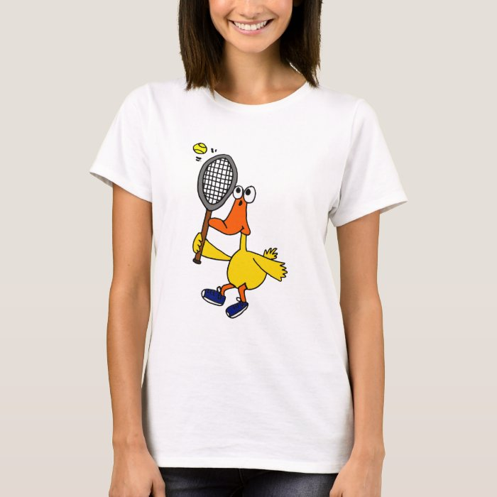 AI- Funny Duck Playing Tennis T-Shirt