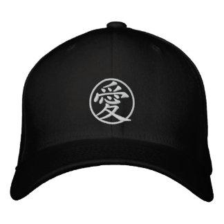 ai, love, japanese, kanji embroidered baseball caps