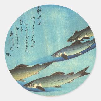 Ai (Trout) - Hiroshige's Japanese Fish Print Classic Round Sticker
