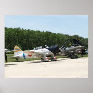 "Aichi D3A ""Val"" and 1941 Curtiss P-40E ""Kittyhawk"" Poster"