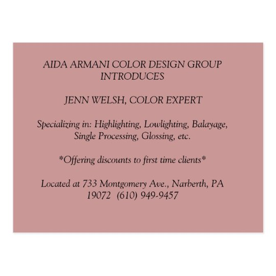 AIDA ARMANI COLOR DESIGN GROUP INTRODUCES  JENN... POSTCARD