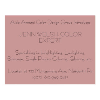 Aida Armani Color Design Group Introduces JENN W.. Postcard