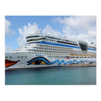 AIDAluna cruise ship anchered off Grenada island Postcard