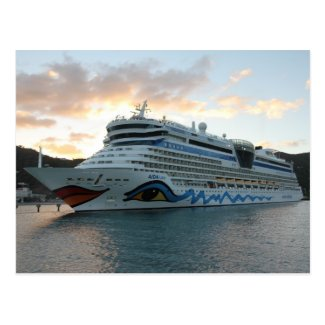 AIDAluna Cruise Ship in Road Town on Tortola Postcard