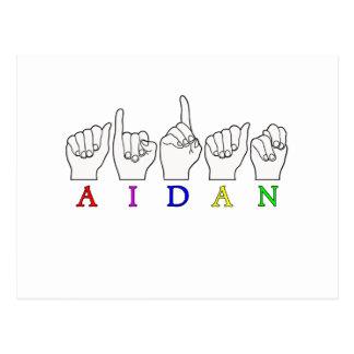 AIDAN FINGERSPELLED ASL SIGN NAME MALE POSTCARD
