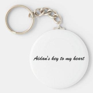 Aidan's key to my heart basic round button keychain