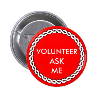 Aide Volunteer Ask Me Red White Event Badge Pin