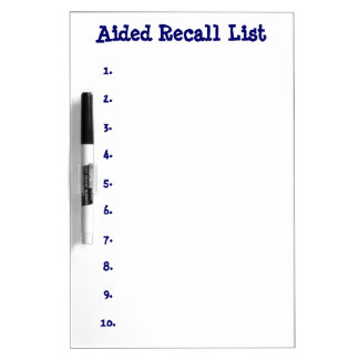 Aided Recall List-Numbered Dry Erase Board