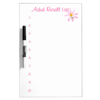 Aided Recall List-Numbered+Flower/Dragonfly Dry-Erase Board