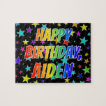 "[ Thumbnail: ""Aiden"" First Name, Fun ""Happy Birthday"" Jigsaw Puzzle ]"
