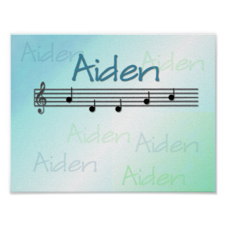 Aiden Musical Name Nursery Room Poster