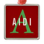 Aidi Breed Monogram Metal Ornament