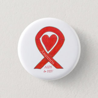 AIDS and HIV Awareness Heart Ribbon Customized Pin