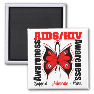 Aids Awareness Butterfly 2 Inch Square Magnet