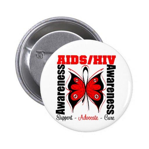 Aids Awareness Butterfly Button