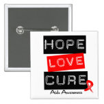 Aids Awareness Hope Love Cure Pinback Buttons