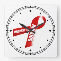 Aids awareness | Personalize Square Wall Clock