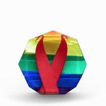AIDS awareness red ribbon on gay flag Acrylic Award