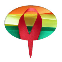 AIDS awareness red ribbon on gay flag Cake Topper