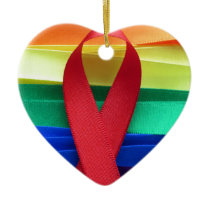 AIDS awareness red ribbon on gay flag Ceramic Ornament