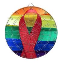 AIDS awareness red ribbon on gay flag Dart Board