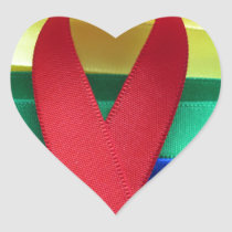 AIDS awareness red ribbon on gay flag Heart Sticker