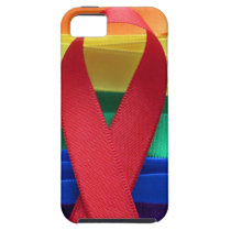 AIDS awareness red ribbon on gay flag iPhone SE/5/5s Case